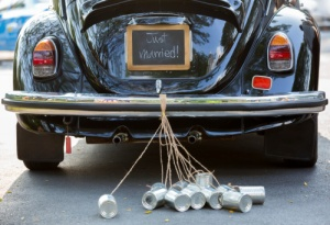 Wedding car & cans